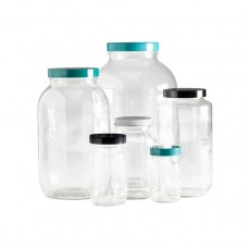 Clear standard wide mouth bottles with thermoset F217 & PTFE lined cap