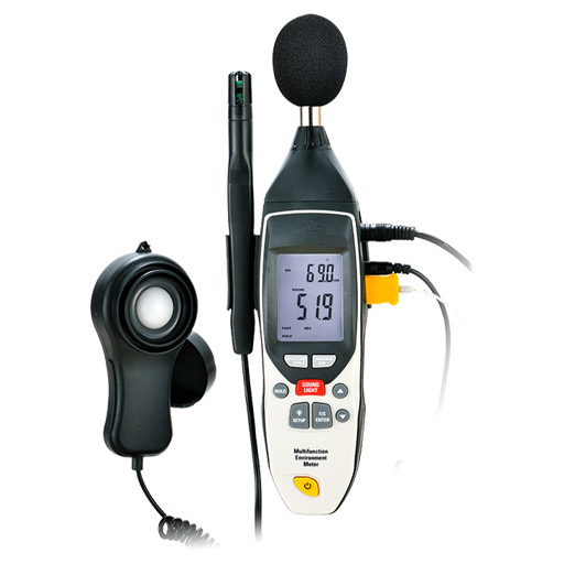 Digital Temperature, Humidity, Sound, Light and Air Flow Meter