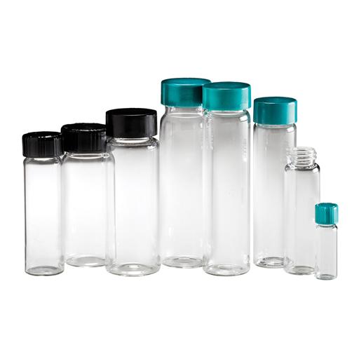 Flacons en verre clair à ouverture filetée avec bouchon garni de F217 et PTFE thermodurcissables