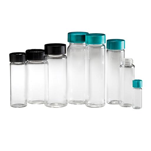 Flacons en verre clair à ouverture filetée avec bouchon garni de PolyCone phénolique