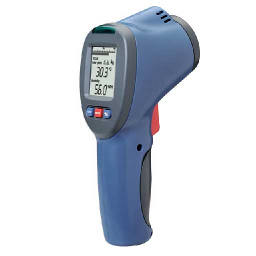 Infrared thermometer with humidity and dew point